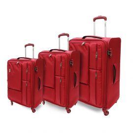 طقم من 3 حقائب سفر من ARMN Leverage - أحمر