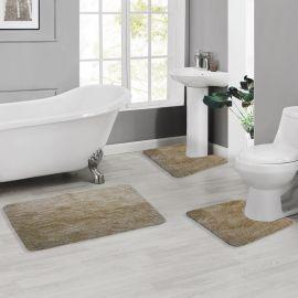 ARMN Colormate Acrylic 3-Piece Bath Rug Set - Beige