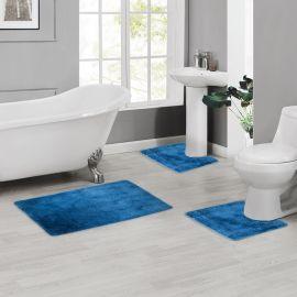 ARMN Colormate Acrylic 3-Piece Bath Rug Set - Dark Blue