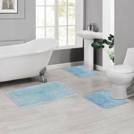 ARMN Colormate Acrylic 3-Piece Bath Rug Set - Light Blue