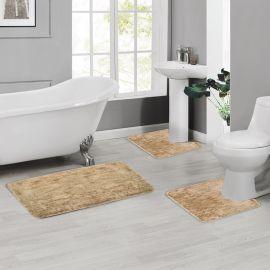 ARMN Colormate Acrylic 3-Piece Bath Rug Set - Dark Brown