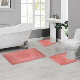 ARMN Colormate Acrylic 3-Piece Bath Rug Set - Dark Salmon