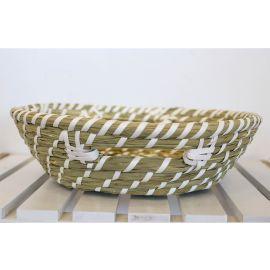 ARMN Java Medium Bamboo Basket - White & Beige
