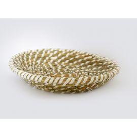 ARMN Java Small Bamboo Basket - White & Beige