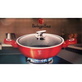Berlinger Haus Metallic Burgundy Shallow Pot with Lid - 28 cm