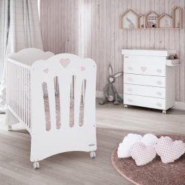 Trama Corazones Crib - White & Light Pink