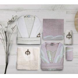 Maribor Acasia 6-Piece Embroidered Bathrobe Set - Offwhite & Pink