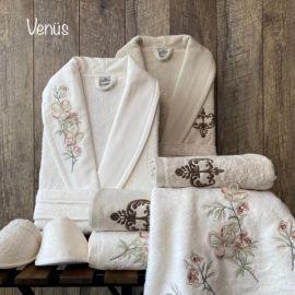Maribor Venus 6-Piece Embroidered Bathrobe Set - Offwhite & Beige