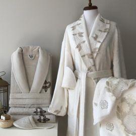Maribor Dorya 6-Piece Embroidered Bathrobe Set - Offwhite & Beige