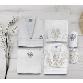 Maribor Ange 6-Piece Embroidered Bathrobe Set - Cream