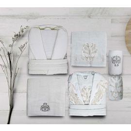 Maribor Ange 6-Piece Embroidered Bathrobe Set - Cream & Green