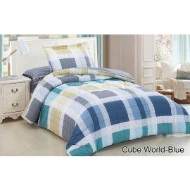 ARMN Casual 4-Piece Cube World-Blue Single Comforter Set