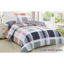 ARMN Casual 4-Piece Cube World-Green Single Comforter Set