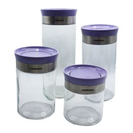 Aminno 4-Piece Glass Jar Set - Purrple