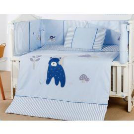 طقم أغطية سرير أطفال 60 سم 4 قطع من Pupa - أزرق