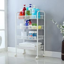 PinPin Family 4-Basket Metal Trolley Organizer - White