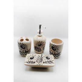 ARMN Holand 4-Piece Bathroom Set - Black Flowers
