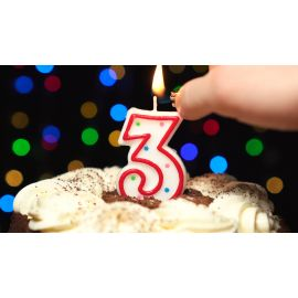 Metaltex Number 3 Birthday Cake Candle