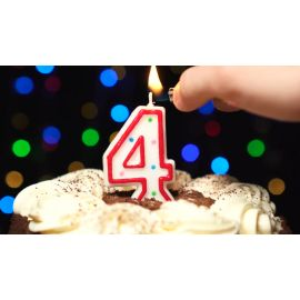 Metaltex Number 4 Birthday Cake Candle