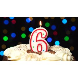 Metaltex Number 6 Birthday Cake Candle