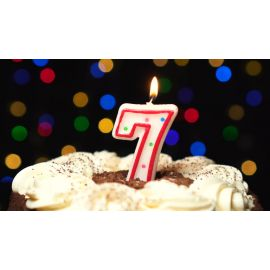 Metaltex Number 7 Birthday Cake Candle