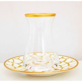 طقم شاي 12 قطعة من Glazze Larisa - أبيض وذهبي