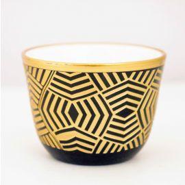 طقم قهوة عربية 6 قطع من Glazze Lucca - أسود وذهبي