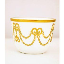 طقم قهوة عربية 6 قطع من Glazze Lucca - أبيض وذهبي