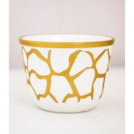 طقم قهوة عربية 6 قطع من Glazze Larissa - أبيض وذهبي