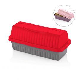صندوق لخبز التوست من Qlux - أحمر ورمادي