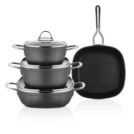 Schafer Gastronomie 7-Piece Granite Cookware Set - Anthracite