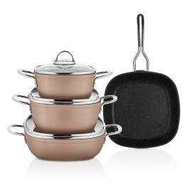 Schafer Gastronomie 7-Piece Granite Cookware Set - Rose Gold