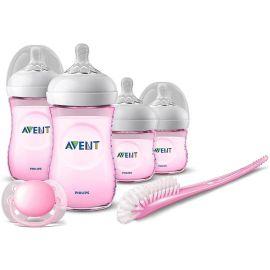 طقم الرضاعة لحديثي الولادة من Philips Avent - زهري
